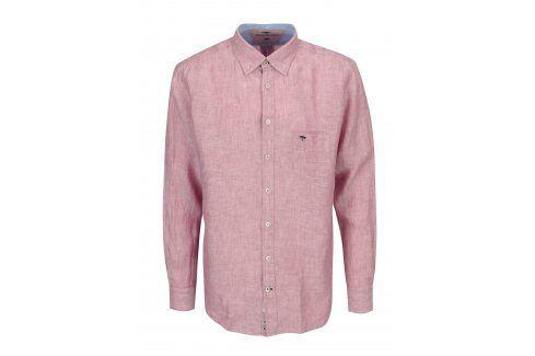 Růžová žíhaná lněná casual fit košile Fynch-Hatton neformální