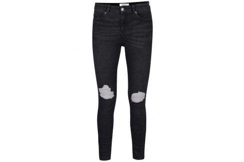 Tmavě šedé skinny džíny s potrhaným efektem Miss Selfridge Džíny, kalhoty, legíny