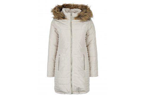 Krémový prošívaný kabát s umělou kožešinou VERO MODA Fast Móda pro ženy
