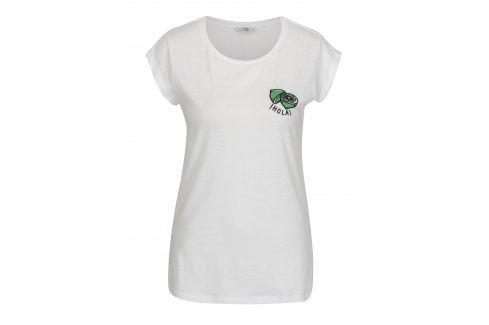 Bílé tričko s výšivkou citrónu ONLY Hollie trička s krátkým rukávem