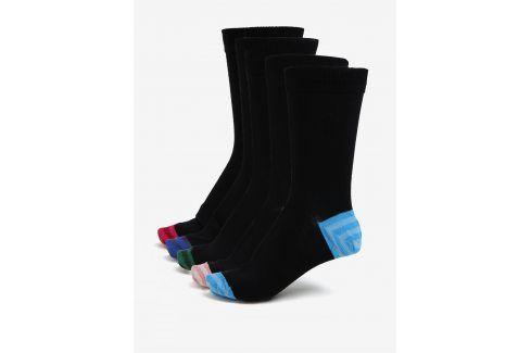 Sada pěti páru černých ponožek s barevnou patou a špičkou Burton Menswear London ponožky
