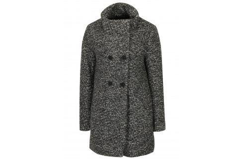 Tmavě šedý žíhaný kabát s příměsí vlny ONLY New Sophia Móda pro ženy
