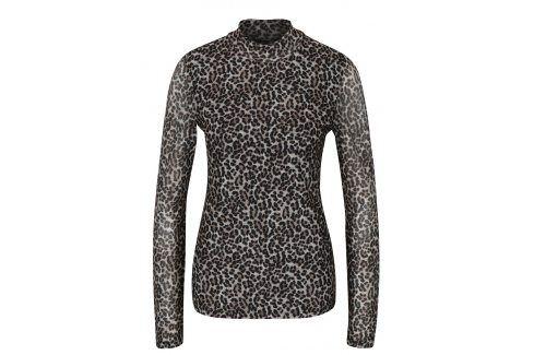 Černo-béžové vzorované tričko se stojáčkem a průsvitným zadním dílem ONLY Erica trička s dlouhým rukávem