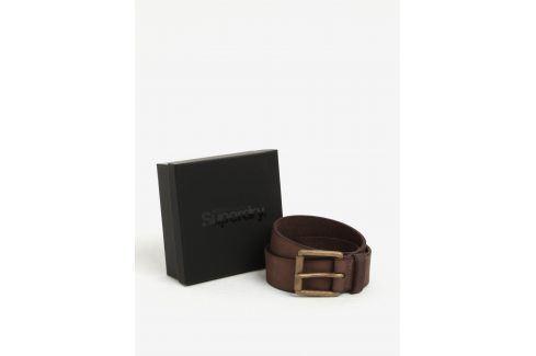 Tmavě hnědý pánský kožený pásek Superdry Western pásky
