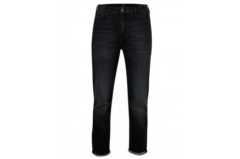 Tmavě šedé dámské zkrácené mom straight džíny s vysokým pasem Lee Džíny, kalhoty, legíny