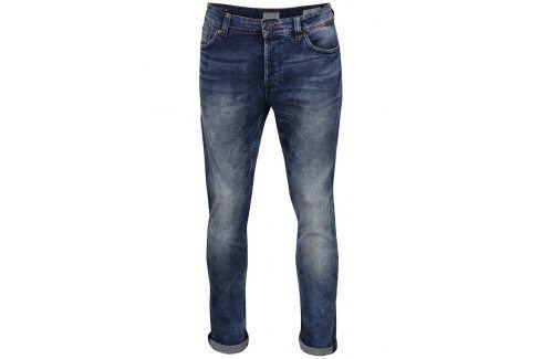Tmavě modré slim džíny s vyšisovaným efektem ONLY & SONS Loom džíny
