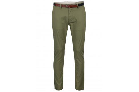 Khaki slim fit chino kalhoty s páskem Selected Homme Hyard kalhoty
