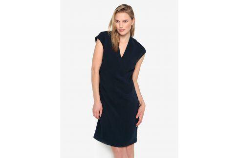 Tmavě modré šaty s véčkovým výstřihem Selected Femme Ninna šaty na denní nošení