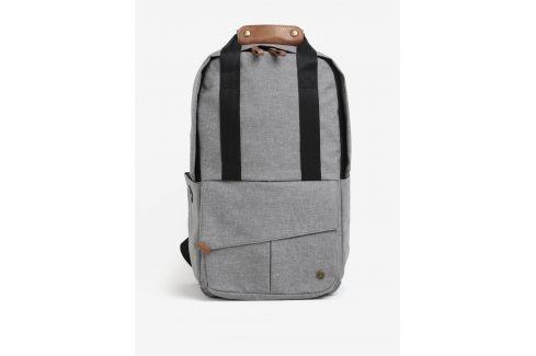 Světle šedý unisex voděodolný batoh s koženými detaily PKG Batohy