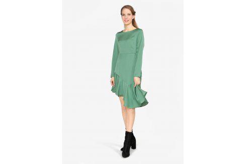 Zelené asymetrické šaty s dlouhým rukávem VERO MODA Elsa šaty na denní nošení