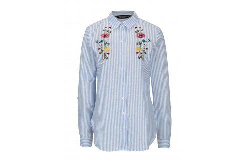 Bílo-modrá pruhovaná košile s výšivkou Dorothy Perkins košile