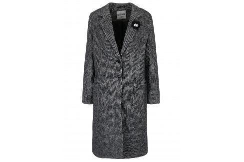 Tmavě šedý vzorovaný kabát s příměsí vlny TALLY WEiJL Móda pro ženy
