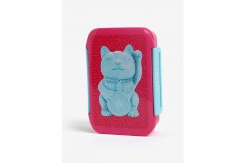 Modro-růžový box na jídlo s motivem kočky Mustard pití a jídlo s sebou