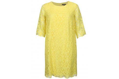 Žluté krajkové šaty Ulla Popken Móda pro plnoštíhlé