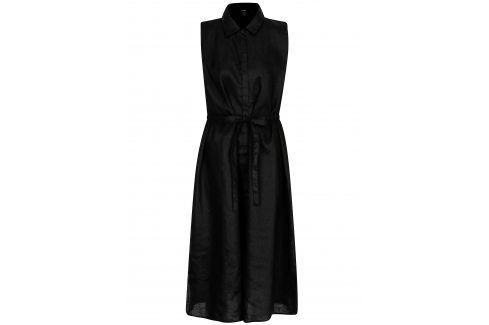 Černé lněné košilové šaty DKNY šaty na denní nošení