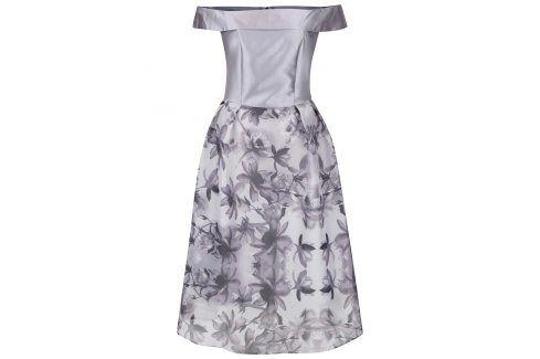 Světle šedé šaty s květovanou sukní a odhalenými rameny Dorothy Perkins společenské šaty
