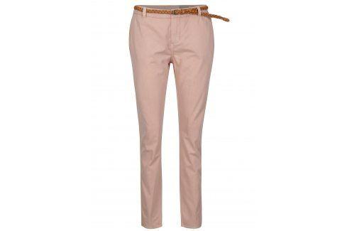 Růžové chino kalhoty s páskem VERO MODA Flame Džíny, kalhoty, legíny