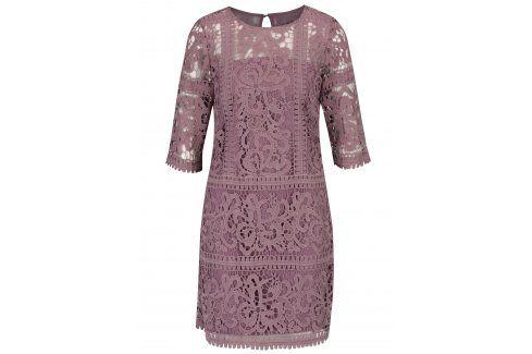 Fialové krajkové šaty s 3/4 rukávem Little Mistress společenské šaty