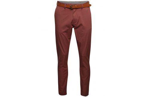 Cihlové chino kalhoty s páskem Selected Homme Hyard kalhoty