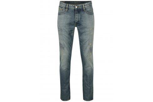Modré pánské straight džíny s potrhaným efektem Calvin Klein Jeans Taper džíny