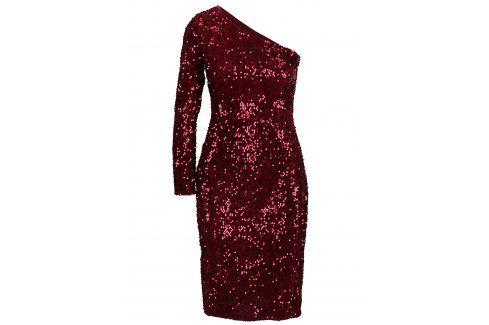 Červené flitrované asymetrické šaty Dorothy Perkins společenské šaty