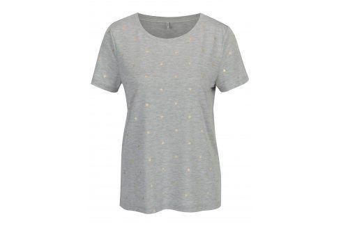 Šedé žíhané vzorované tričko ONLY Isabella trička s krátkým rukávem