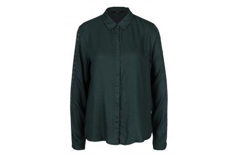 Tmavě zelená košile s krajkou na rukávech VERO MODA Banja košile