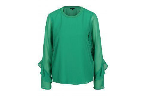 Zelená halenka s průsvitnými rukávy VERO MODA Ava halenky