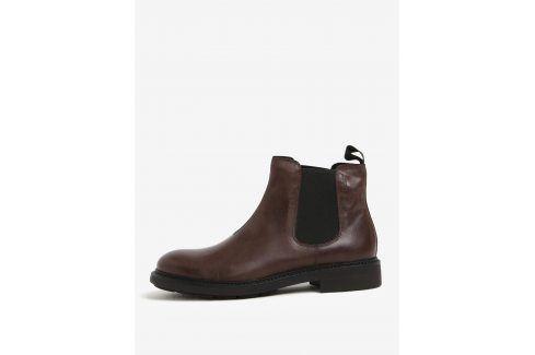 Hnědé pánské kožené chelsea boty Vagabond Edward kotníkové