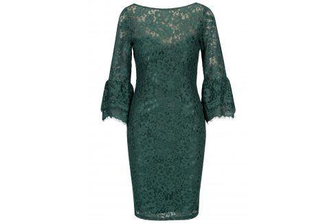Zelené krajkové šaty s dlouhým rukávem Paper Dolls společenské šaty