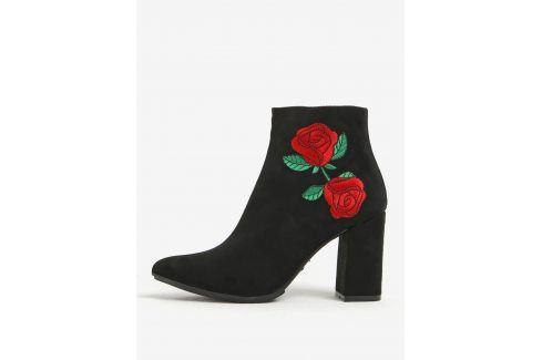 Černé kotníkové boty v semišové úpravě na podpatku s výšivkou OJJU Boty