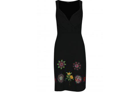 Černé šaty s kamínky a výšivkami Desigual Gotheborg šaty na denní nošení