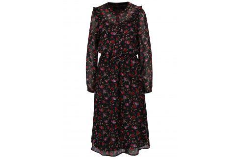Červeno-černé květované šaty s průsvitnými rukávy VERO MODA Rose šaty na denní nošení