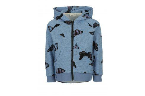 Modrá holčíčí mikina na zip s potiskem motýlů name it Kutter Mikiny