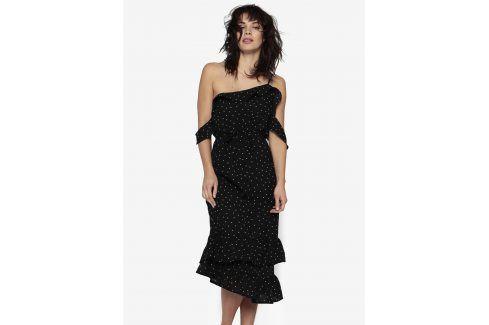 Černé asymetrické průsvitné šaty s volány MISSGUIDED šaty na denní nošení