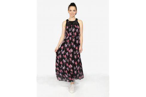 Černé vzorované maxi šaty Superdry letní a plážové šaty