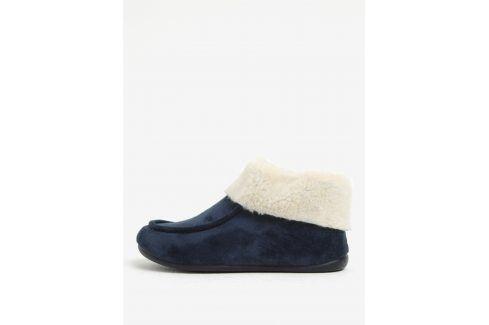 Tmavě modré dámské papuče s umělou kožešinou OJJU domácí obuv