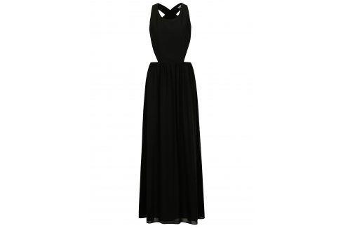 Černé maxišaty s průstřihy na zádech SH Pereirde společenské šaty