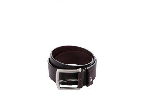 Tmavě hnědý pánský kožený pásek s přezkou Tommy Hilfiger pásky