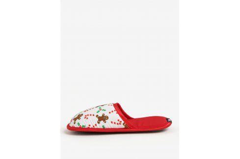 Červeno-bílé unisex papuče s vánočním motivem Slippsy domácí obuv