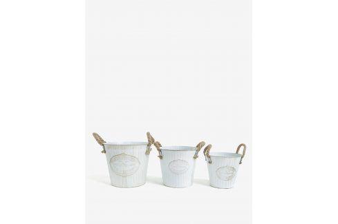 Sada tří kbelíků v bílé barvě Kaemingk Doplňky do bytu