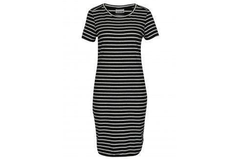 Bílo-černé pruhované šaty s krátkým rukávem Noisy May Summer šaty na denní nošení