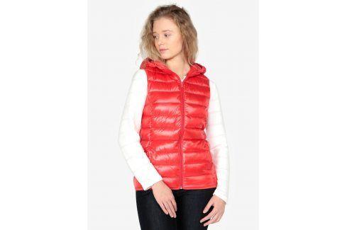 Červená dámská prošívaná vesta s kapucí QS by s.Oliver Móda pro ženy