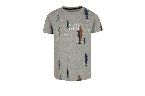 Šedé žíhané klučičí tričko s potiskem ryb name it Ibrahim trička s krátkým rukávem