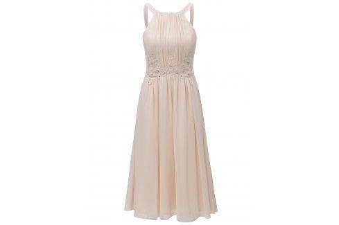 Meruňkové šaty s korálky Little Mistress společenské šaty