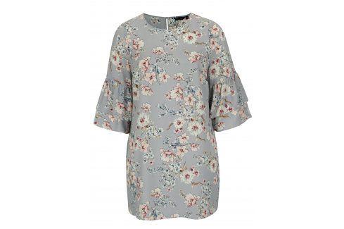 Světle modré květované šaty s volány Dorothy Perkins Curve Móda pro plnoštíhlé