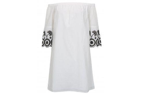 Bílé šaty s odhalenými rameny a výšivkou Dorothy Perkins šaty na denní nošení