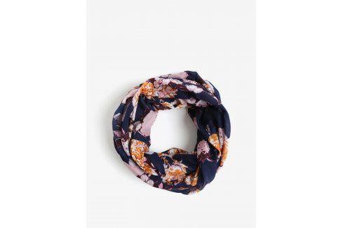 Růžovo-modrá květovaný dutý šátek Pieces Gista šátky, šály