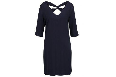 Tmavě modré šaty s pásky na zádech s.Oliver šaty na denní nošení