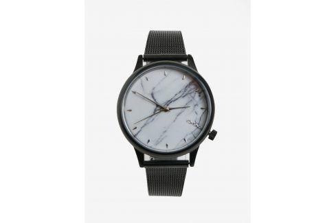 Bílo-černé dámské hodinky s kovovým páskem Komono Estelle Royale hodinky